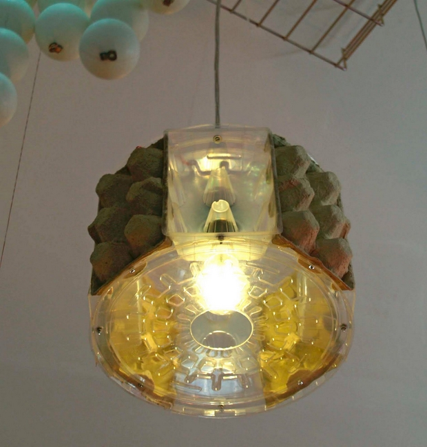 egg carton plastic cardboard empty handmade hanging lamp project