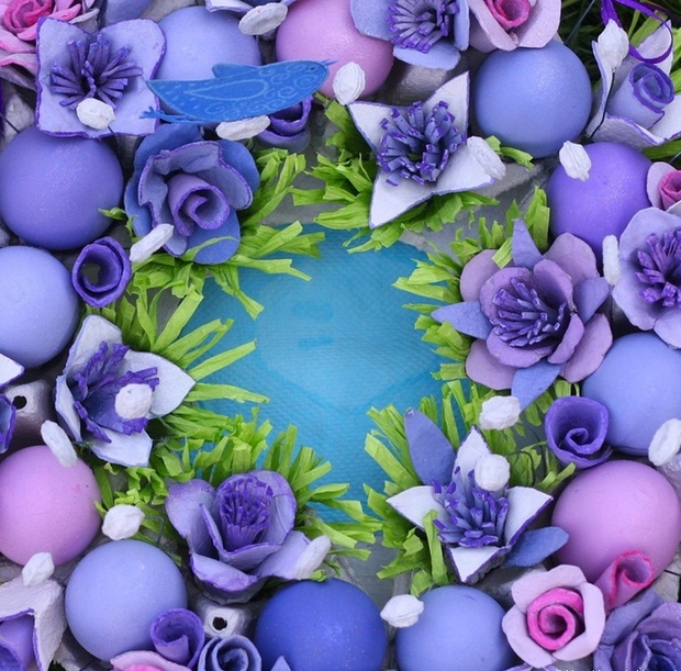 Easter egg carton craft ideas reuse flowers purple wreath
