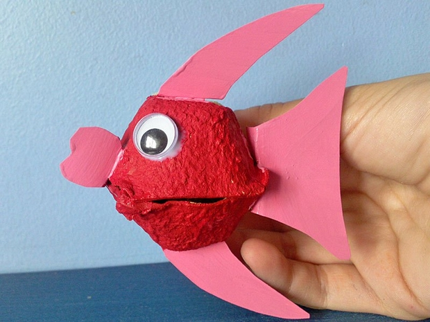recycled egg carton kids craft ideas reuse fish animal red eyes