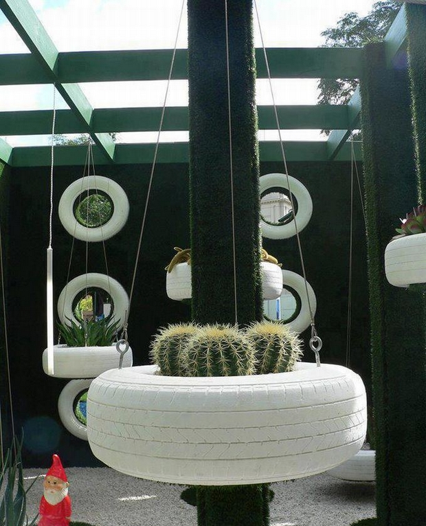 ways to reuse old tires garden hanging planter white painted cactus