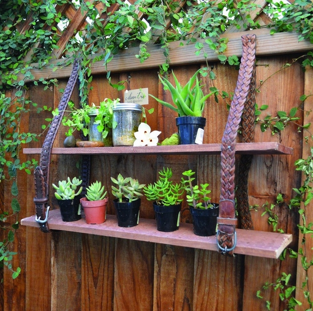 garden junk ideas creative projects shelves reuse leather belt plants fence