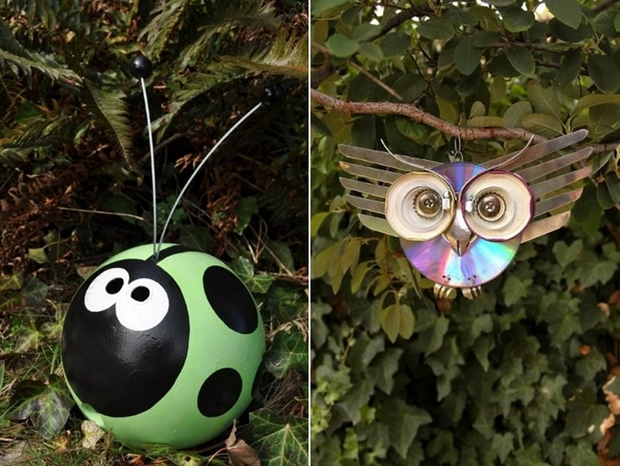 garden junk ideas decoration diy bowling ball ladybug owl upcycling old cds
