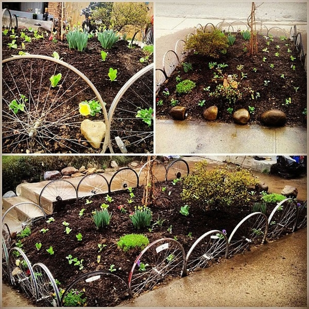 garden junk ideas old bicycle metal wheel garden border