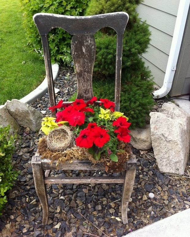 garden junk ideas old wooden chair flower pot creative