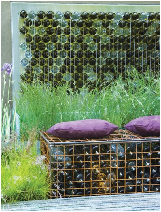 junk garden art seating bench gabion old glass bottles wall decoration