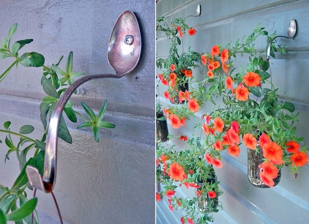 junk garden art spoon reuse wall hook petunia glass jars