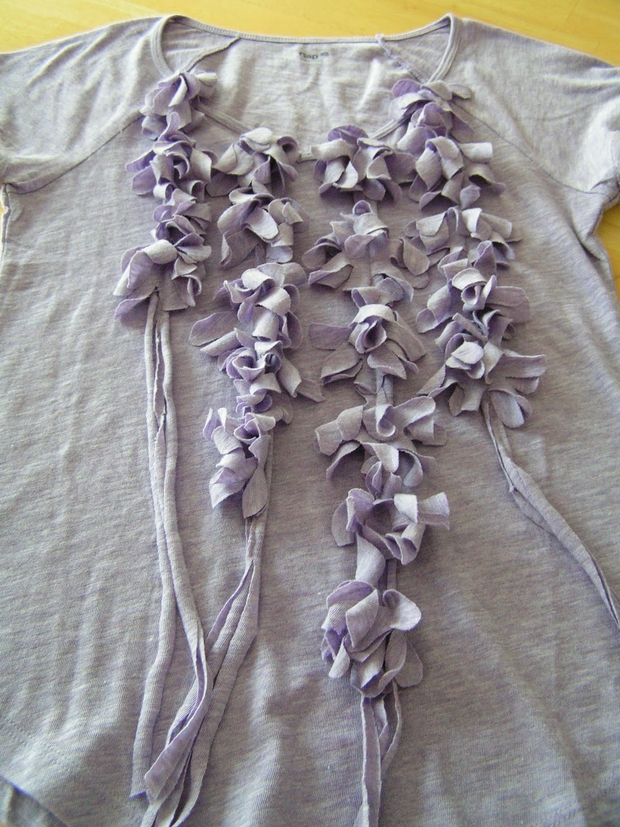 upcycled T-shirt ideas purple ribbon flowers creative reuse