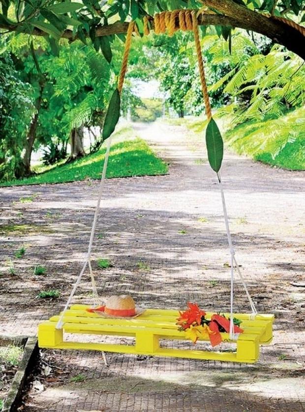 garden furniture ideas creative diy yellow swing pallet bed