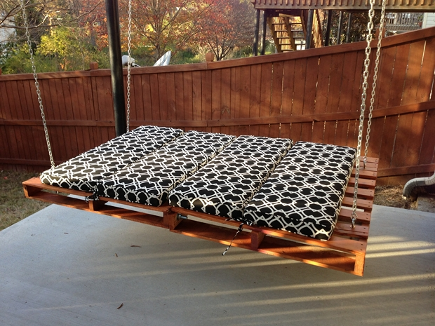 outdoor garden furniture ideas swing pallet bed black cushion wooden fence