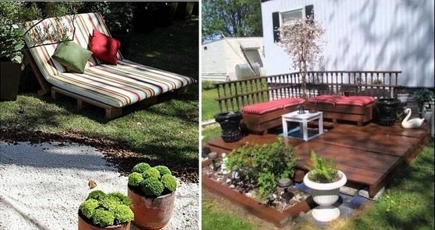 outdoor pallet furniture ideas backyard garden lawn upcycled wooden lounge colorful cushion decorative pillows