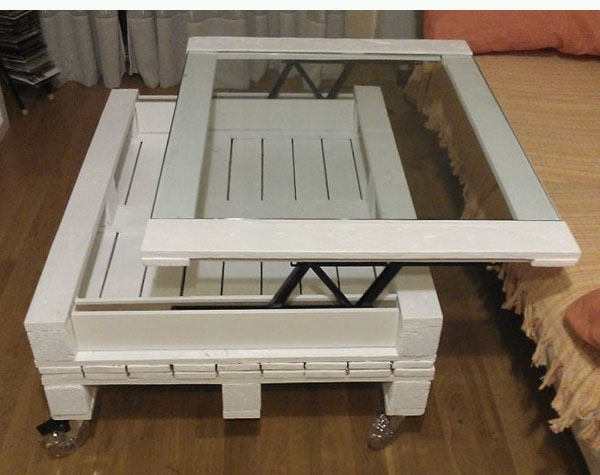 pallet furniture creative diy white table glass top moveable piece