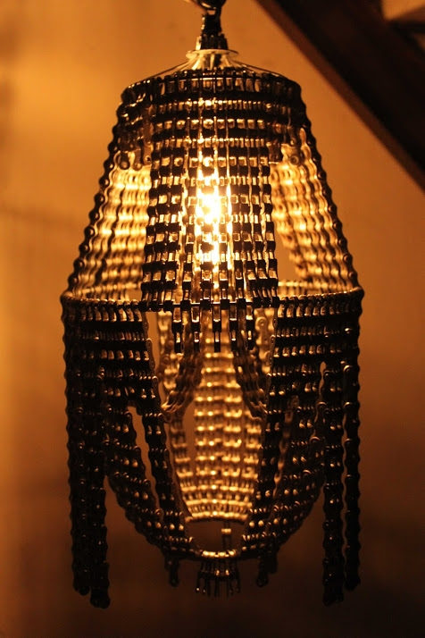 upcycling lamp creative bicycle chain chandeliers