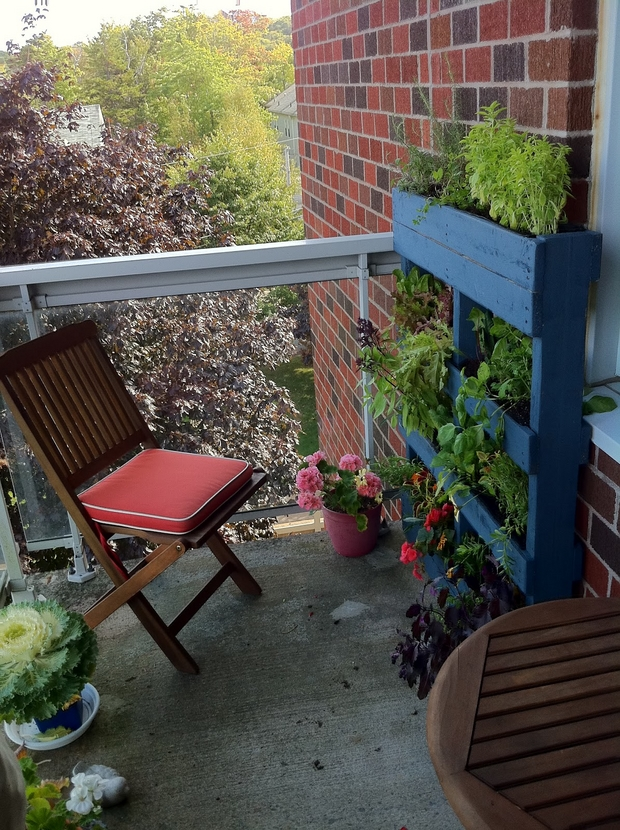 vertical blue pallet garden bricks wall wooden armchair cushion flower pots