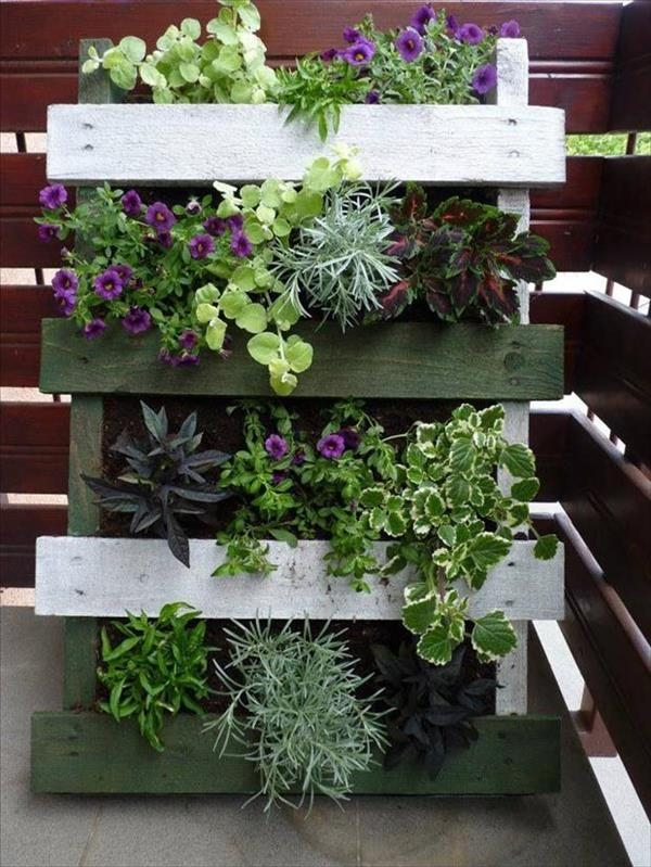 vertical pallet garden creative diy wooden fence flowers