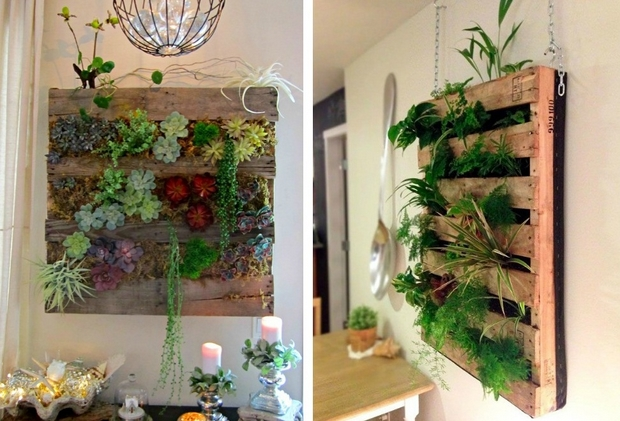 Vertical Pallet Garden Indoor Upcycled Decoration Wall Hanging Succulents