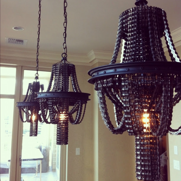 bicycle chain chandeliers dining room hanging lamps
