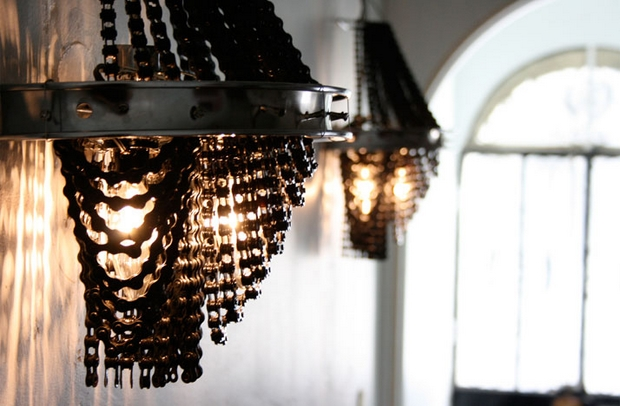 reuse old bike chain wall lamp art decoration