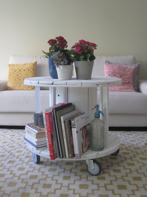 wire spool living room table flower centerpiece white sofa