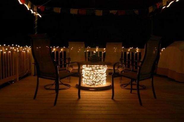 wire spool table light decoration creative diy terrace furniture
