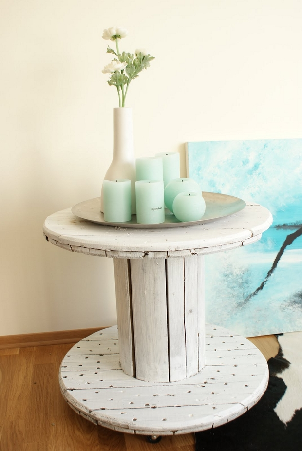 wooden cable spool table flower decoration living room