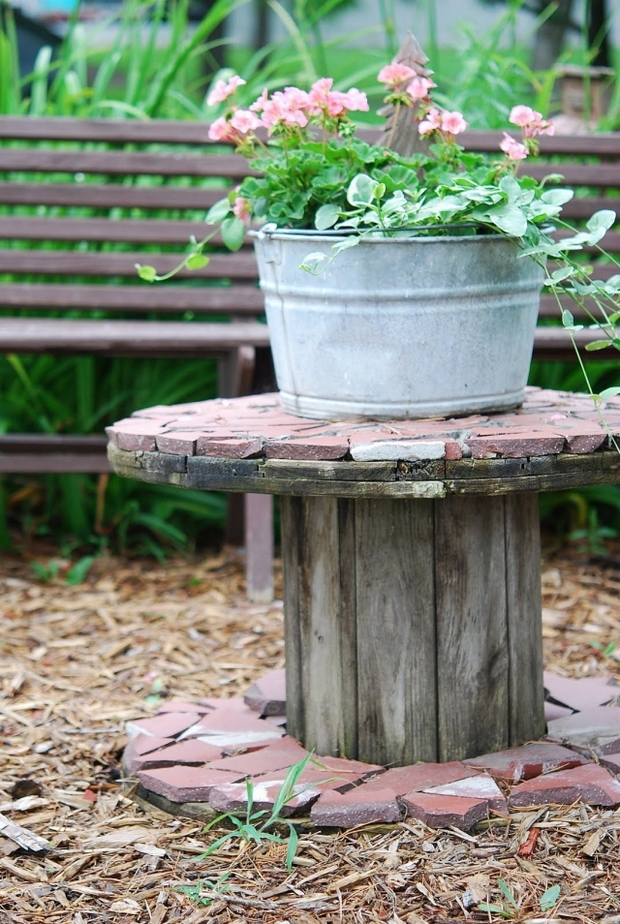 wooden cable spool table flower metal pot stone garden decoration