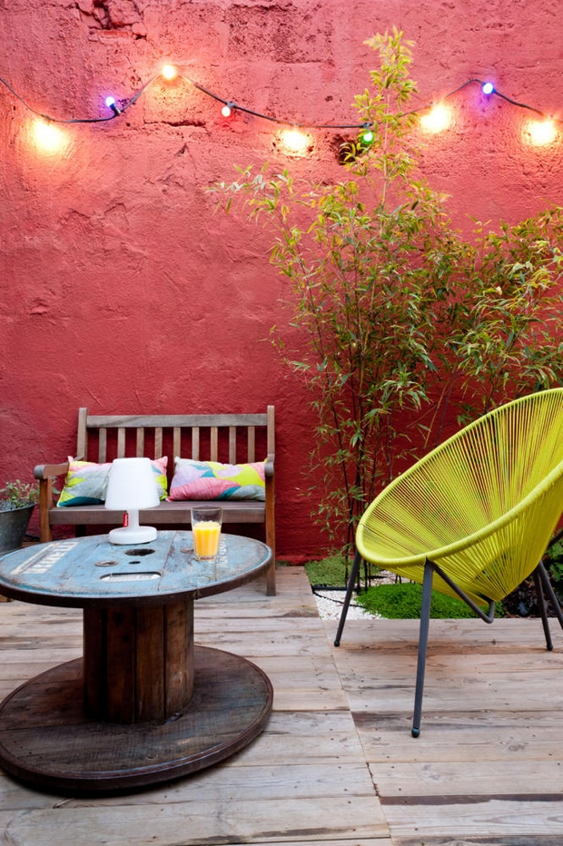 wooden cable spool table terrace decoration ideas wooden bench