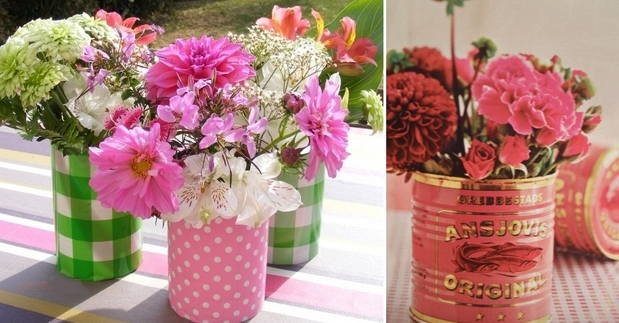 colorful fabric tin can flower garden backyard diy table centerpiece decor