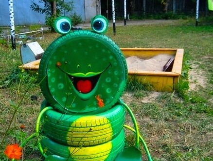 Creative Diy Tire Frog Playground Kid Idea Green