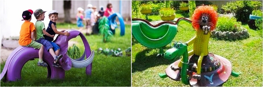 garden upcycling tire project purple elephant kids riding playground tools wasted tires lion half cut rubber tire