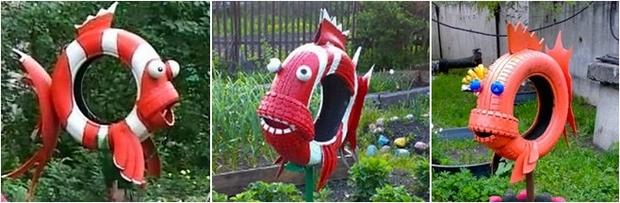 red interesting diy repurposed tire fish coloured garden art cute tire ideas