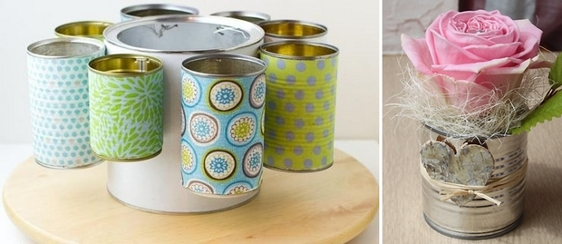 rotating tin can organiser diy colorful decorated
