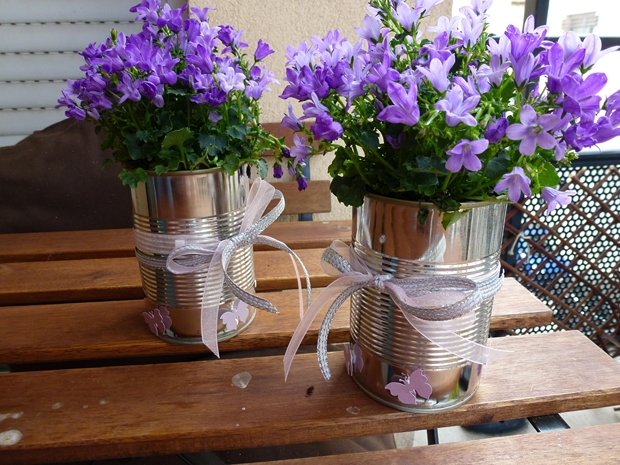 tin can container flower garden table centerpiece vases ideas