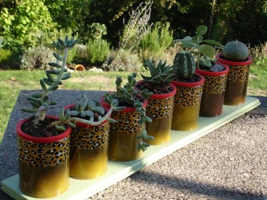 tin can craft ideas garden table centerpiece cactus decor