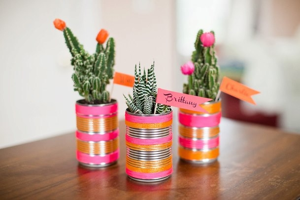 tin can crafts ideas living room centerpiece flower vases decoration
