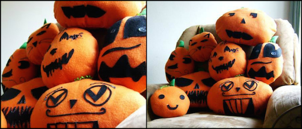 homemade diy indoor armchair etsy decoration ideas for halloween pillows party craft ideas for halloween indoor reused smiling handmade creative pillow cover