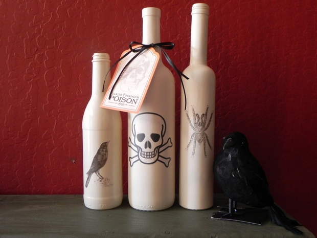 halloween empty reused white wine bottles scary decorated black crow