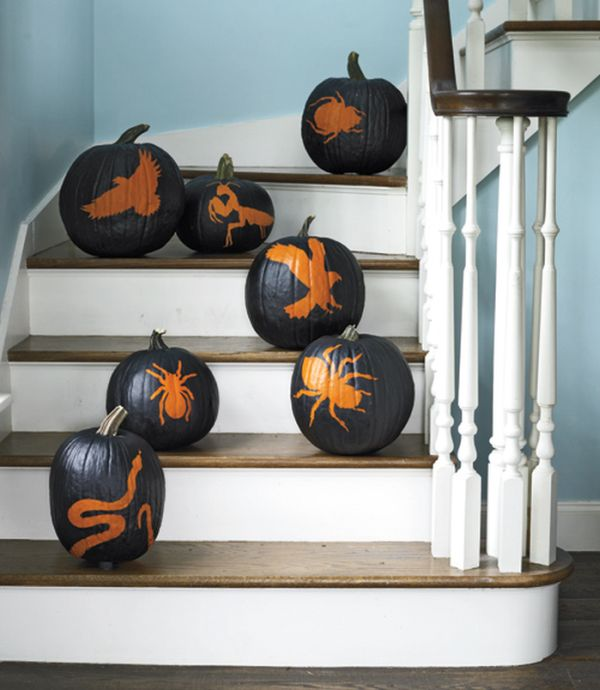 halloween indoor decoration painted pumpkin spiders patterns eagle motif home stairs