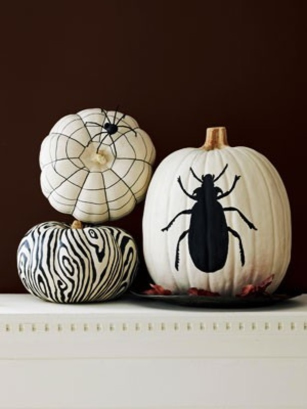 halloween party decorating pumpkin bug motif spider net creative upcycling idea