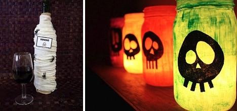 halloween scary lanterns wine bottle cockroach decoration ideas