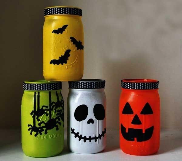homemade Halloween decor reuse empty milk bottles scary decoration ideas