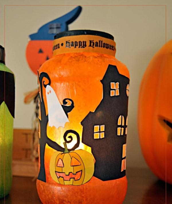 homemade Halloween decor unique diy upcycled luminaria indoor ideas