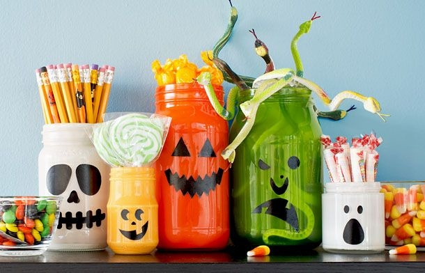 homemade Halloween decor upcycled empty milk jug luminaries creative diy decoration ideas