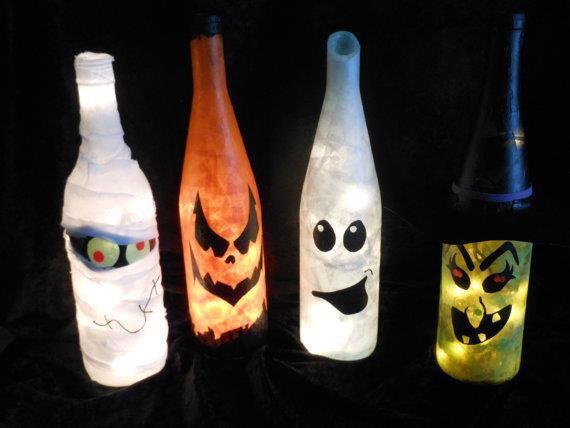 reused empty wine bottles halloween luminaries decoration diy ideas