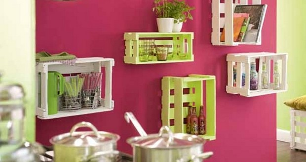 ... Ideas To Decorate Your Home.  Upcycling Wooden Crates Hangling Kitchen Shelves Creative Diy