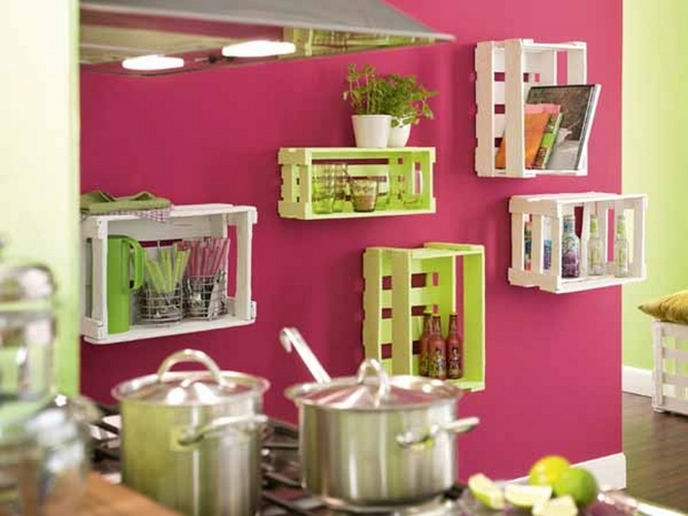 upcycling wooden crates hangling kitchen shelves creative diy recycled ideas