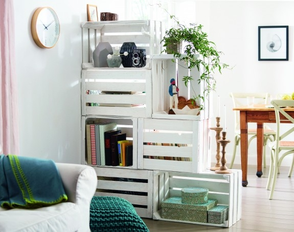upcycling wooden crates living room divider creative ideas books shelves