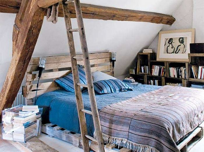 chabby chic amazing bed frame out of pallets creative diy ladder books