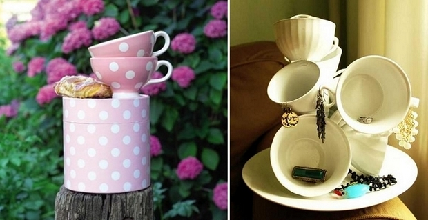 reuse teacups colorful decor diy homemade ideas