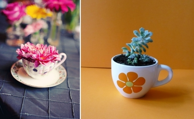 reuse old porcelain teacups beautiful mini planter succulents centerpieces decoration ideas