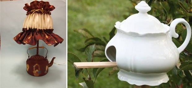 reuse old white porcelain teapots diy garden birdhouse ideas